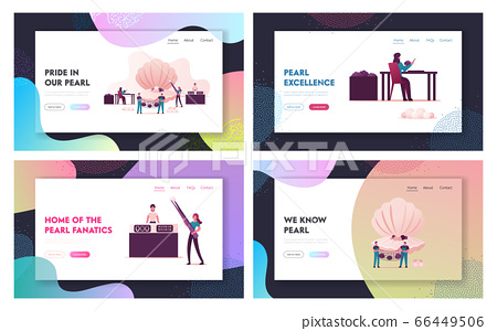 Pearl Farm Landing Page Template Set. Characters Use Implantation of Irritant in Oyster Shell Produce 66449506