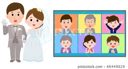 在線婚禮,新娘和新郎和親戚圖 66449829