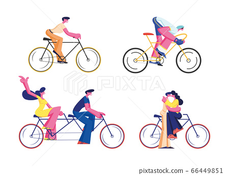 Bike Riders Set Isolated on White Background. Cyclist Sportsman in Sportswear Racing, People Driving Tandem Bicycle, Couple Kissing on Cycle. Eco Transport Cartoon Flat Vector Illustration, Clip Art 66449851
