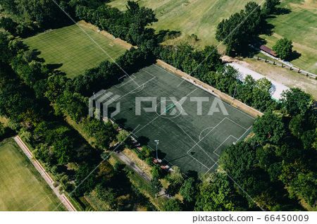 aerial drone photo of soccer sport field 66450009