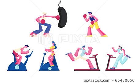Set of Women and Men Training in Gym on Exercise Bike and Punching Bag. Sports Lifestyle Workout, Cardio Exercising 66450056