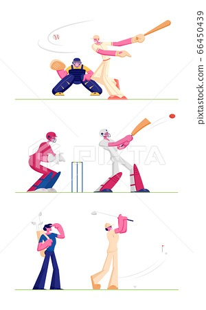 Set Golf and Baseball Players Isolated on White Background. People Play on Course Hitting Ball to Hole, Batter Hitter Hitting Ball Catcher Prepare to Get it. Cartoon Flat Vector Illustration, Clip Art 66450439