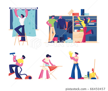 Household Activities Set. Male and Female Characters with Cleaning Equipment Mopping Vacuuming Floor Rub Sweeping Hanging Curtains and Clean Up Wardrobe at Home. Cartoon Flat Vector Illustration 66450457