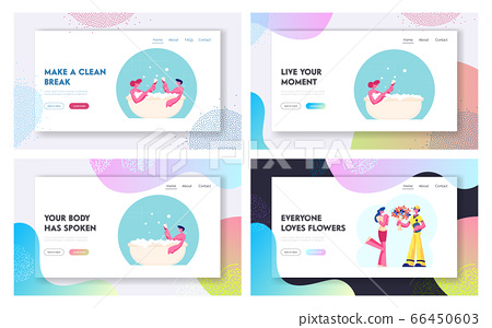 Wellness Honeymoon Date, Flower Delivery Service Website Landing Page Set. Young Couple Sit in Bath Tub with Champagne, Courier Give Bouquet to Girl Web Page Banner. Cartoon Flat Vector Illustration 66450603