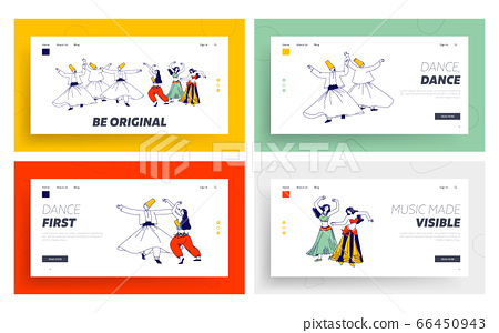 Arabic Dances Landing Page Template Set. Whirling Dervish and Girls in Traditional Outfits Dancing with Raising Hands 66450943