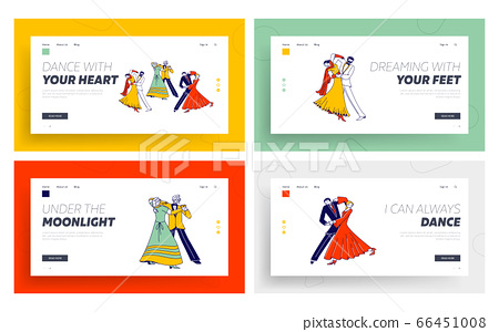 Young and Aged Couples Waltz Dancing Landing Page Template Set. Characters Active Lifestyle 66451008