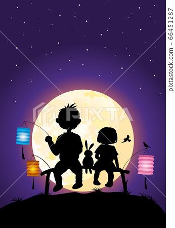 Kids sitting under moonlight vector silhouette illustration celebrating Mid-Autumn festival 66451287
