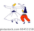 Arabic Dance Concept. Whirling Dervish in Traditional Outfit and Girls in Arab Dress Dancing with Raising Hands 66453158