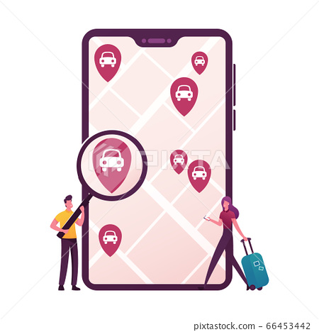 Tiny Characters with Magnifier and Luggage at Huge Mobile Order Car Sharing Service for Transportation in City 66453442