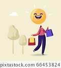 Cheerful Shopaholic Girl Character with Purchases in Colorful Paper Bags. Happy Woman Holding Shopping Packages 66453824