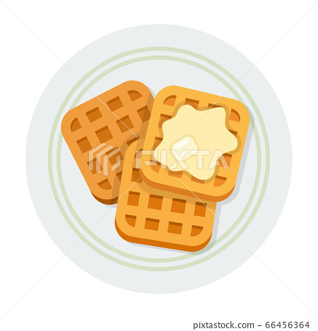 Square waffles with butter vector icon flat isolated 66456364