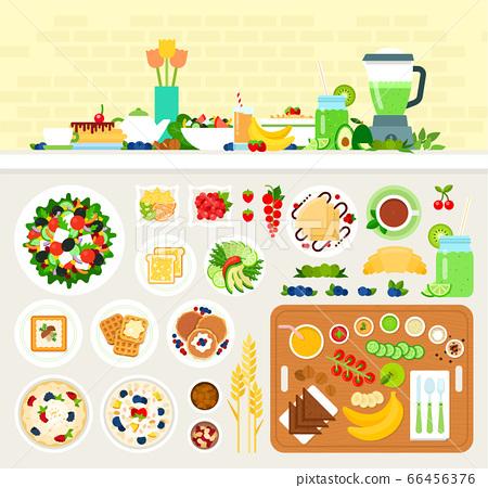 Vegetarian healthy breakfast vector illustration in flat design. 66456376
