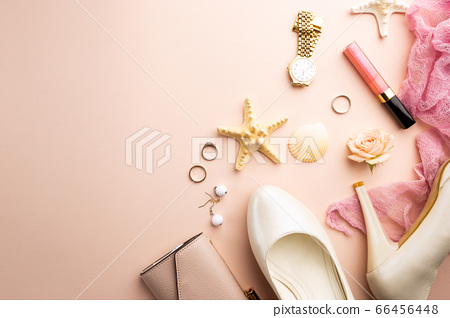 Female flat lay on pink 66456448