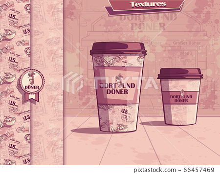 Vector background with a cup of coffee 66457469