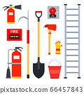 Set vector flat icons of fire fighting equipment. Fire safety facilities isolated on white backdrop. 66457843