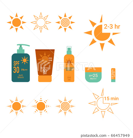Sun Protection. Time interval sunblock with SPF UVA UVB. Bottle with sunscreen. Lip balm with SPF. Shape of Sun. Vector illustration. White Isolated. 66457949