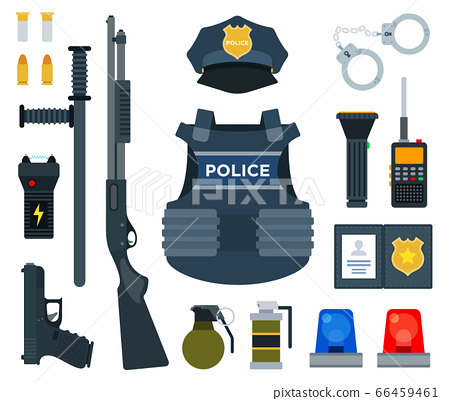 Vector set icons of professional police equipment isolated on white background. 66459461