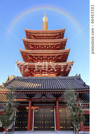 淺草寺五層塔與彩虹複合 66463381