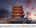 Tokyo Sensoji Temple Five-storied pagoda and evening view composite 66463580
