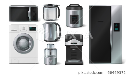 Kitchen appliance. Domestic electronic house hold devices, kettle microwave toaster blender. Vector collection of realistic 3D mockups 66469372