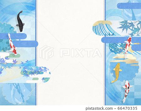 日式背景素材-涼爽的插圖-鯉魚優雅游泳 66470335