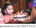 Cute asian child girl is surprising with delicious birthday cake which her mother give to her 66472322