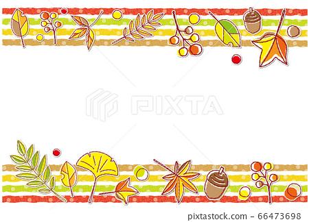 가을의 소재 단풍 도트 무늬 프레임 배경 소재 엽서 66473698