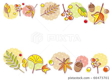 가을의 소재 단풍 도트 무늬 프레임 배경 소재 엽서 66473701