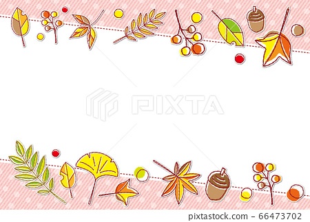 가을의 소재 단풍 도트 무늬 프레임 배경 소재 엽서 66473702