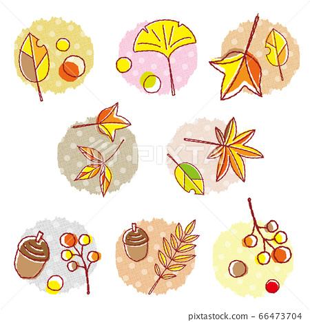 가을의 소재 단풍 세트 도트 배경 66473704