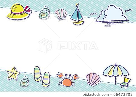 여름 소재 도트 무늬 프레임 배경 소재 엽서 66473705