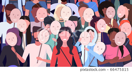 people crowd holding positive masks men women group covering face emotions behind masks depression 66475815