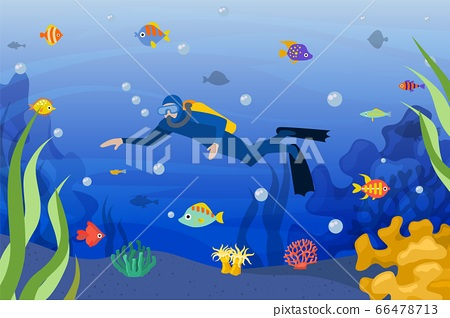 Diver underwater, vector illustration. Scuba man in ocean activity sport with tropical fish, dive with mask in blue water. 66478713