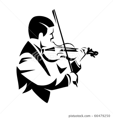 classical musician playing violin black and white vector portrait 66479250