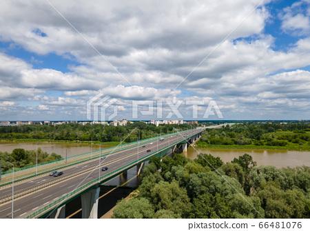 view of the Vistula bridge in Warsaw 66481076