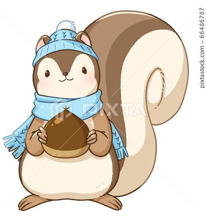 다람쥐 겨울 머플러 모자 밤 66486787