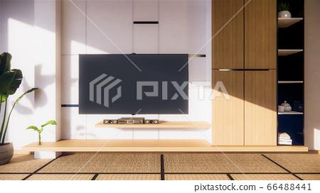 TV cabinet and shelf wall design zen interior of 66488441
