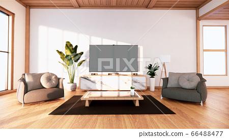 Tv cabinet in tropical empty room Japanese - zen 66488477