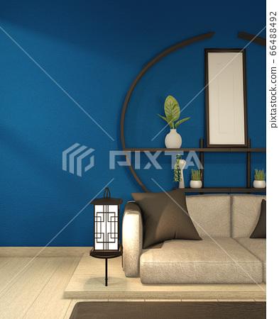 Modern Zen living room interior, white sofa and 66488492
