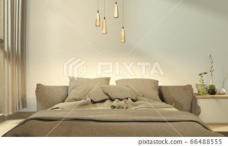 gray bed room japanese design. 3D rendering 66488555