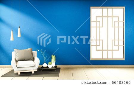 interior mock up Chinese style dark blue Room 66488566