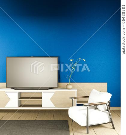 cabinet mock up japanese interior of blue dark 66488581
