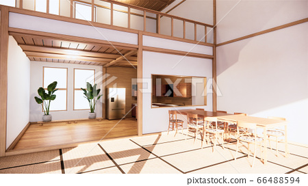 Kitchen room japanese style. 3D rendering 66488594