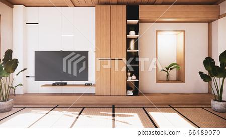 TV cabinet and shelf wall design zen interior of 66489070