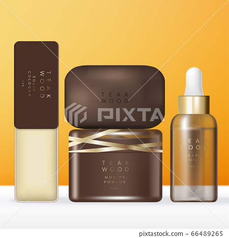 Vector Luxury Brown & Gold Toiletries or Beauty Set with Solid Cologne Tin Box, Soap Bar, Pomade or Cream Jar, Oil or Serum Tinted Brown Dropper Bottle Packaging. 66489265