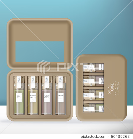 Vector Bath Oil or Essential Oil Glass Bottle Library Collection with Cork Stopper in Molded Pulp Box Packaging. 66489268