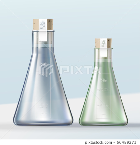 Vector Laboratory Glass Flask Bottle Bath Oil or Bubble Bath Container with Cork Stopper 66489273