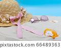 草帽和沙灘上的貝殼 66489363