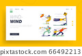 Characters Fighting with Strong Wind Landing Page Template. Woman with Destroyed Umbrella Trying to Protect from Storm. Man Hanging on Road Sign, Scattered Docs. Linear People Vector Illustration 66492213