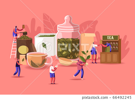 Tea Shop Concept. Tiny Male and Female Characters Packing, Sell and Buying Dry Tea Leaves at Huge Glass Jar and Cup with Fresh Beverage. Hot Drink Brew Retail. Cartoon People Vector Illustration 66492245